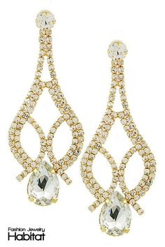 Crystal Chandelier Earrings - $14.00 at FashionJewelryHabitat.com - #FashionJewelryHabitat #FashionHabitat