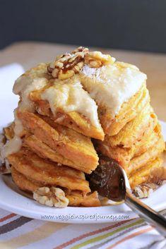 Vegan Carrot Cake Pancakes - Use Coconut Flour for #GF & #paleo. Use grass-fed cream cheese for legume #allergy