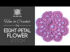 How to Crochet the Eight Petal Flower Motif