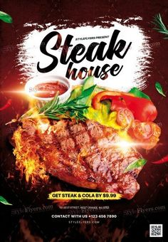 Steak House PSD Flyer Template and more than Premium PSD flyer templates for event, loud party or successfull business.