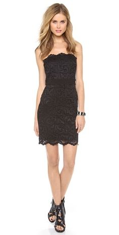 Velvet Strapless Stretch Lace Dress