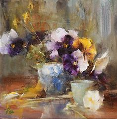 White and Purple Pansies by Laura Robb Oil ~ 10 x 10