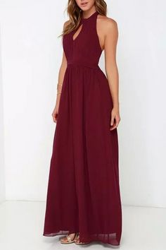 Halter Cut-out Front Backless Maxi Chiffon Dress OASAP.com