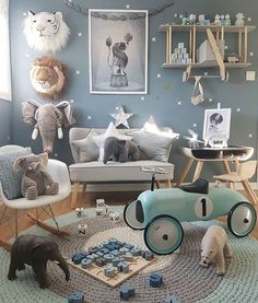 This children's room or nursery space is a dream. Baby Bedroom, Baby Boy Rooms, Baby Boy Nurseries, Nursery Room, Kids Bedroom, Room Boys, Bedroom Sets, Kids Rooms, Blue Bedrooms