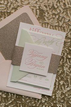 Blush, Sage and Gold Glitter Letterpress Wedding Invitations by Just Invite Me