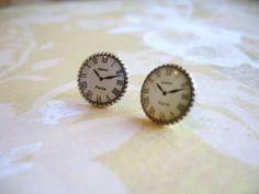 Sale Clock Watch Earrings Timeless Paris. $12.00, via Etsy.