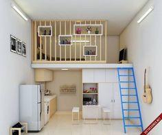 """Vẫn đầy đủ tiện nghi như các căn hộ cao cấp, phòng trọvỏn vẹn 20m2 này sẽ khiến ai nấy khi bức vào cũng muốn được ở lại. Hình ảnh căn phòng trước khi được cải tạo, một mẫu phòng gác lửng rất phổ biến phải không nào!    Sau khi được thổi hồn bởi kiến trúc sư, căn phòng đã """"thay da đổi thịt"""