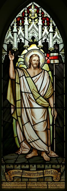 Risen Christ stained glass window