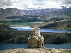 The ancient Armenian church in western Azerbaijan province embraced by the breath taking scenery of mountains and clouds