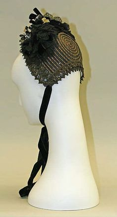 Bonnet (image 2) | American | 1885-1890 | horsehair, silk, cotton | Metropolitan Museum of Art | Accession #: 1975.227.11