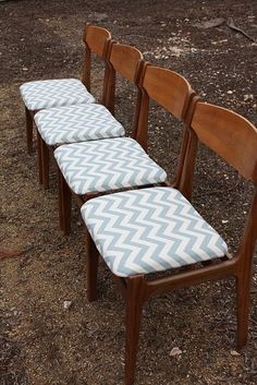 recovered chevon fabric chairs