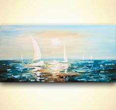 seascape painting modern palette knife teal