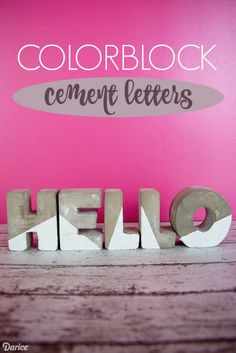 Colorblocked cement letters perfect for the Industrial look in home decor