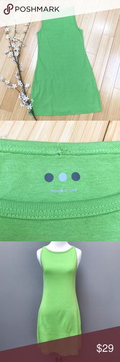 THREE DOTS apple tank dress, M. Sweet and simple tank dress in a happy apple green by Three Dots, size medium. Perfect condition. Unstretched bust measures 15 inches but comfortably stretches to 21, length is 34 inches, hips are 21 inches. Made in the USA. Material is 100% cotton. Absolutely beautiful. Three Dots Dresses