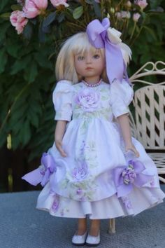 "Effner 13"" Little Darling Summer Lilac Roses Ens by Ladybugs Doll Designs 