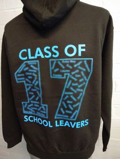 Can't believe it's that time of year again! Class of 2017 School Leavers Hoodies hot of the printing press for Pennard Primary School. Black hoodies, with custom embroidered logo on the front and Leavers design custom print on the back in blue.