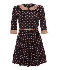 Another great find on #zulily! Yumi Black Pallini Spot A-Line Dress by Yumi #zulilyfinds