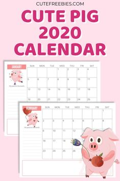 Cute Pig 2020 Calendar PDF - Free Printable - Cute Freebies For You Free Printable Calendar, Printable Cards, Printable Planner, Planner Stickers, Free Printables, Monthly Planner, Sticker Organization, College Organization, Print Calendar