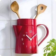 45 Homemade Decorative Clock Ideas - Home Chef Kitchen Decor, Kitchen Cabinets Decor, Red Kitchen, Unusual Clocks, Cool Clocks, Diy Clock, Clock Decor, Clock Ideas, Handmade Clocks