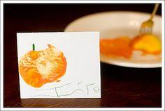 apple print pumpkin placecards