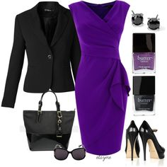 I love this bold purple dress. The style is traditional, but the bright color and layered fabric give it a modern edge. Stick with simple black accessories to keep this outfit professional and authoritative.