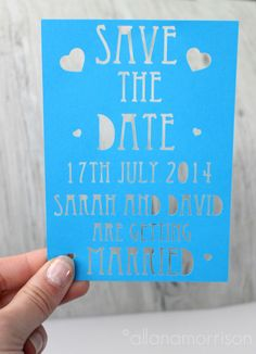 Save the Date paper cut with tiny hearts by allanamphotography on Etsy https://www.etsy.com/listing/191303550/save-the-date-paper-cut-with-tiny-hearts