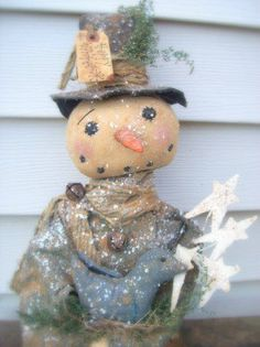 Snowman Doll OOAK with Bluebird. Crafted in 2010 by Meadow Fork Primitives