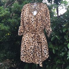 Calvin Klein Plus Size Dress Gorgeous Dress with leopard print and gold zipper front. 100% polyester. Welcome to the Jungle! Calvin Klein Tops Blouses