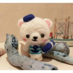 Cute Needle felted wool animal bear (Via @handmade_mjcrafts)