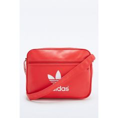 adidas Originals Classic Red Airliner Bag (€66) ❤ liked on Polyvore featuring bags, red, messenger bag, adidas originals bag, strap bag, red bag and courier bag