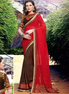 Plain Red And Brown Jacquard Zari Work Half N Half Saree  http://www.angelnx.com/Sarees/Designer-Sarees
