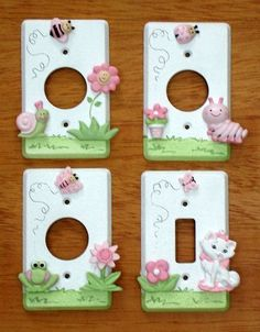 Earlier I posted a polymer clay decorated switch plate that I had glued a couple of flowers onto that I made with a mold of scrollwork on my cabinets.Just wanted to show you some other ideas for using polymer clay on plain switch plates. Switch Plate Covers, Light Switch Plates, Light Switch Covers, Cute Crafts, Diy And Crafts, Crafts For Kids, Fimo Clay, Polymer Clay Crafts, Clay Miniatures