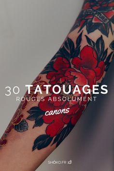 Ces 30 superbes tatouages colorés de rouge vont te fasciner