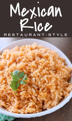 Mexican Restaurant-Style Rice! A simple recipe with just a few ingredients just like the rice at our favorite Mexican restaurant and a perfect side dish to serve at home with your favorite Mexican recipes! Mexican Rice Recipes, Mexican Cooking, Mexican Dishes, Mexican Rice Recipe Restaurant Style, Mexican Style Rice Recipe, Mexican Rice Seasoning, Easy Mexican Rice, Asian Rice, Rice Side Dishes