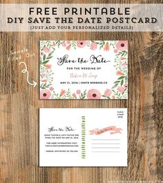 10 Beautiful and Free Save the Date Templates: Free, Printable Save the Date Postcard Template from Mountain Modern Life