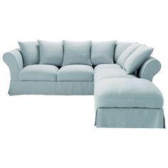 Divano-letto angolare a 6 posti  tessuto di lino blu-grigio  Roma  Maisons du monde