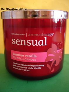 Bath & Body Works Aromatherapy Jasmine Vanilla Large 3 Wick Candle