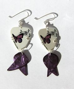 Guitar Pick Earrings - Purple Butterfly - Musical Notes - guitar pick jewelry. $20.00, via Etsy.