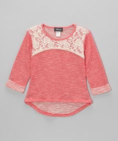 Coral French Terry High-Low top with Lace