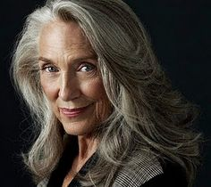 older woman, looking good with her natural grey hair