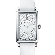 The Tiffany Gallery™ watch in stainless steel, quartz movement, silver dial and white leather strap.