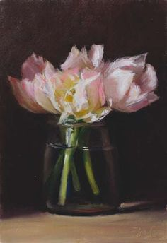 Tulips in a jam jar by ©Julian Merrow-Smith