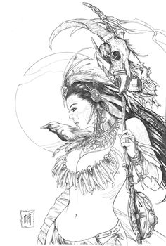 """Cover art for """"Dark Shaman"""", one of my absolute favorites that I've worked on so far.About 5 hours with a Mechanical pencil © 2014 Zenescope Entertainment Colouring Pages, Adult Coloring Pages, Coloring Books, Evvi Art, Art Sketches, Art Drawings, Fantasy Girl, Graphic, Line Art"""