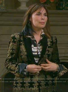 Kate's black and gold damask patterned velvet suit on Days of our Lives.  Outfit Details: https://wornontv.net/69300/ #DaysofourLives