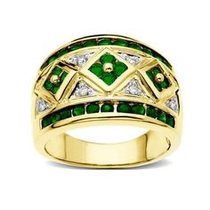 Oooh! Big bold jewelry statement - great green St. Patrick Day ring. The setting looks like 4-leaf clover. There's 3 of them making it extra lucky I think.  Stunning, bold and lucky jewelry - that's cool...    Emerald Ring in 10K Gold with Diamonds from Jewelry.com