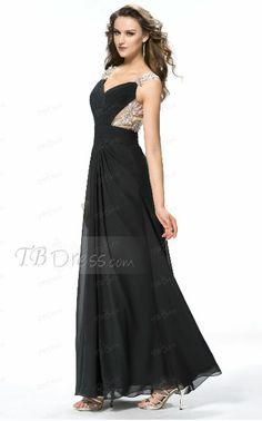 Elegant Appliques Beading Straps Black Chiffon Long Prom Dress on tbdress.com #Prom Dress #Special Occasion Dress.