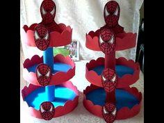 Bandejas provençais do Homem Aranha em E.V.A, Boneco e outras decorações Spiderman com E.V.A - YouTube