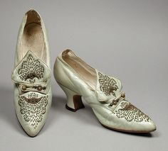 ~Pair of circa 1912 Woman's Ostend Pumps made by Laird, Schober & Co. (United States, Pennsylvania, Philadelphia, founded 1869).  Made of kid leather, gilded cut steel beads, and leather~