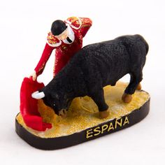 Collectible Miniature House: Spain. Mini Figurine from Spain. Bullfighter and Bull