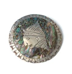 Pre-Columbian Abalone Brooch Sterling  Eagle 2 by PastSplendors